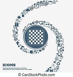 schöne , center., gebrauch, ungefähr, buechse, spiral., viele, modern, verdreht, symbole, vektor, brett, jedes, separately, schach, sie, ikone, dein, design.
