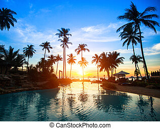 schöne , cluburlaub, sandstrand, tropics., sonnenuntergang