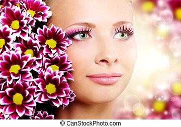 schöne , crysantheme, m�dchen