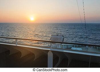 schöne , deck, mittelmeer, ausflugsdampfer, sonnenaufgang, ansicht