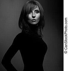 schöne , dunkel, frau, silhouette, closeup, mystiker, grau, schauen, hintergrund., mode, schwarz, portrait., schatten, kleidung, weißes