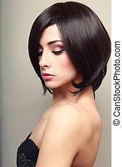 schöne , elegant, weibliches modell, mit, schwarz, kurzes...