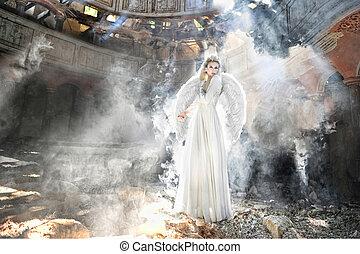 schöne , engelchen, frau, in, theater