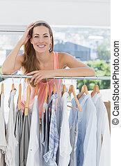 schöne, entwerfer, Mode, weibliche, gestell, kaufmannsladen, Kleidung