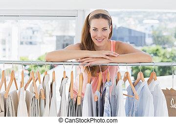 schöne, entwerfer, Mode, weibliche, gestell, Kleidung