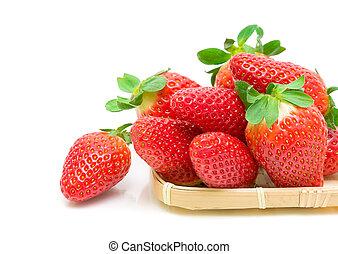 schöne , erdbeer, nahaufnahme