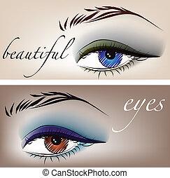 schöne , eyes., skizze, vektor, abbildung