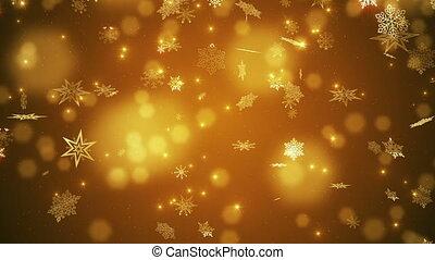 schöne , fallender , schneeflocken, gold