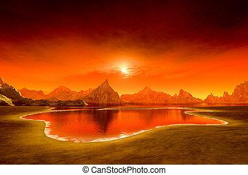 schöne , fantasie, sonnenuntergang, aus, der, wasserlandschaft