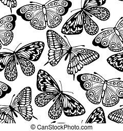 schöne , farben, seamless, vlinders, schwarzer hintergrund, ...