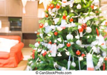 schöne , feiertag, dekoriert, zimmer, mit, weihnachtsbaum, fokus, kugel, für, foto, hintergrund