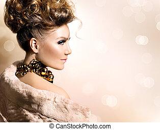schöne , fellmantel, luxus, modell, m�dchen