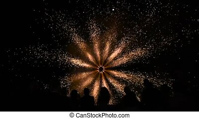 schöne , feuerwerk, feiern, leute