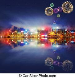 schöne , feuerwerk, in, hongkong