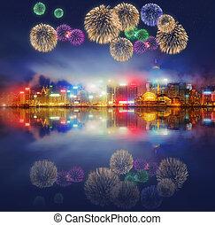 schöne , feuerwerk, in, hongkong, und, finanzieller bezirk