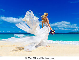 schöne, fianceÈ, groß, whi, langer, blond, wedding, weißes,...