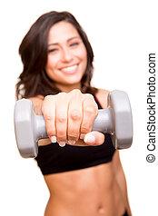 schöne , fitness, frau, auflösen gewichten