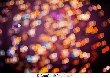 schöne, Fokus, Lichter, dunkel, hintergrund, während, Nacht,...