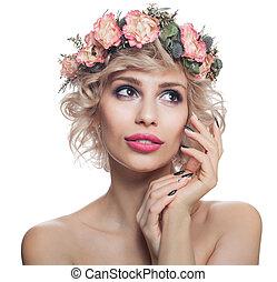 schöne frau, aufmachung, freigestellt, haar, white., hübsch, porträt, modell, blumen, blond