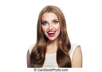 schöne frau, aufmachung, freigestellt, langes haar, hintergrund., ingwer, hübsch, porträt, modell, weißes, überrascht