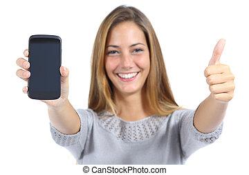 schöne frau, ausstellung, a, smartphone, mit, daumen