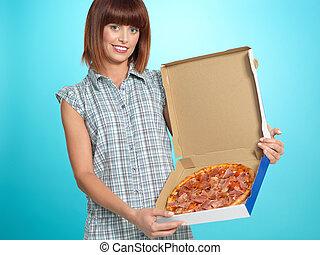 schöne frau, ausstellung, junger, torte, pizza