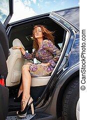 schöne frau, auto, alt, rothaarige, luxus, inneneinrichtung