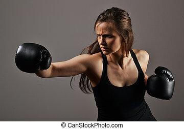 schöne frau, boxen, fitness