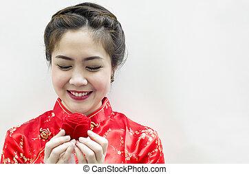 schöne frau, chinesisches , rose, lächeln, starren