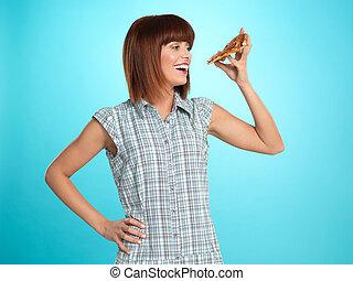 schöne frau, essende, junger, torte, pizza