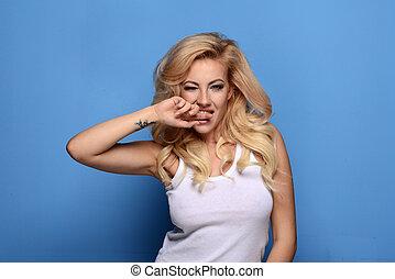 schöne frau, expression., ende, porträt, blond