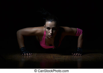 schöne frau, fitness, klappend