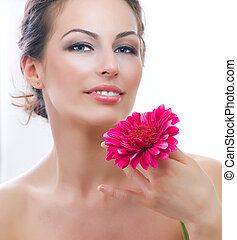 schöne frau, flower., junger, porträt, spa, gerbera, rotes