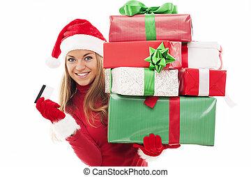 schöne frau, geschenke, kredit, besitz, weihnachtskarte