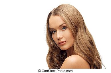 schöne frau, gesicht, mit, langer, blondes haar