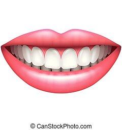schöne frau, gesunde, freigestellt, vektor, z�hne, lächeln, weißes