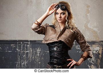 schöne frau, grunge, steampunk, aus, hintergrund., porträt,...