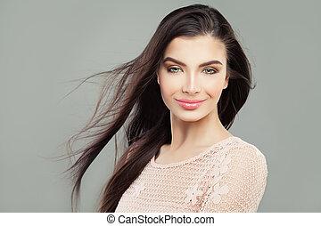 schöne frau, hairstyle., gesunde, gerade, aufmachung, langes haar, brünett, blasen, modell, m�dchen