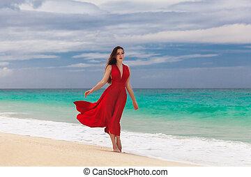 schöne frau, in, a, rotes kleid, stehende , auf, der, see küste
