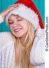 schöne frau, in, weihnachten, kappe
