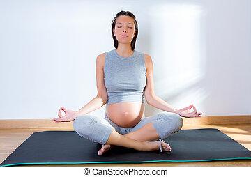 schöne frau, joga, schwanger, turnhalle, fitness