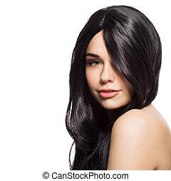 schöne frau, junger, langer, freigestellt, hintergrund., wellig, brünett, hair., porträt, weißes