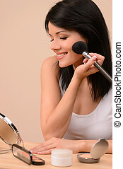 schöne frau, junger, morgen, make-up., make-up