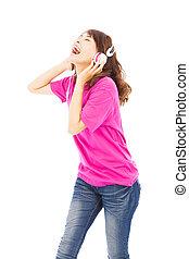 schöne frau, junger, musik, genießen, singende
