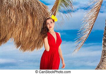schöne frau, kueste, tropische , meer, kleiden, rotes