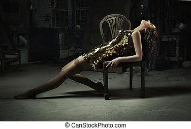 schöne frau, kunst, gold, foto, geldstrafe, kleiden