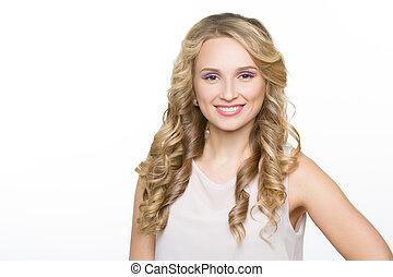 schöne frau, lockig, langer, blond, hair.