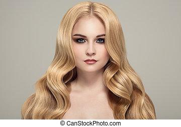 schöne frau, lockig, langer, hair., blond