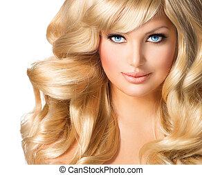 schöne frau, lockig, langes haar, portrait., blond, blond, m�dchen