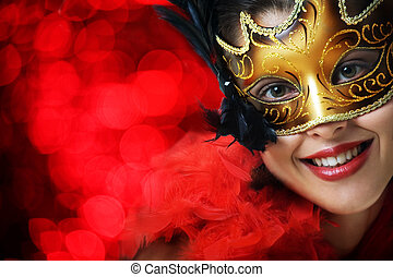 schöne frau, maske, junger, kirmes